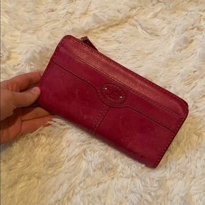 Pink leather fossil wallet